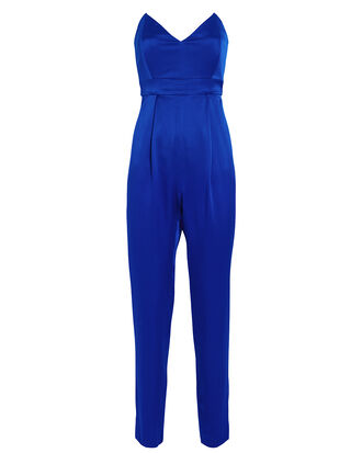 Strapless Silk Tailored Jumpsuit, INDIGO, hi-res
