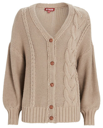 Blake Oversized Cable Knit Cardigan, BEIGE, hi-res