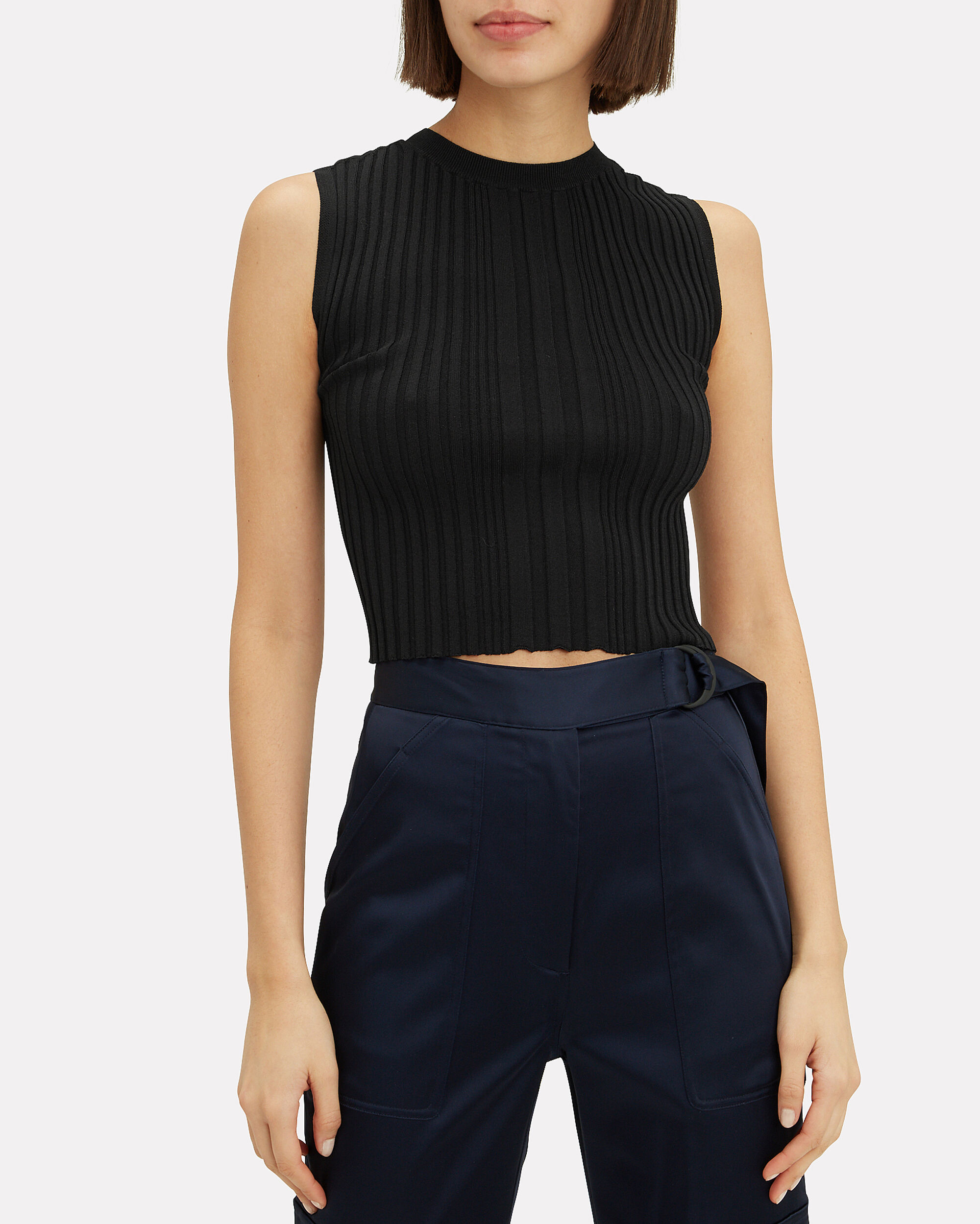 Opacity Pleated Knit Top, BLACK, hi-res