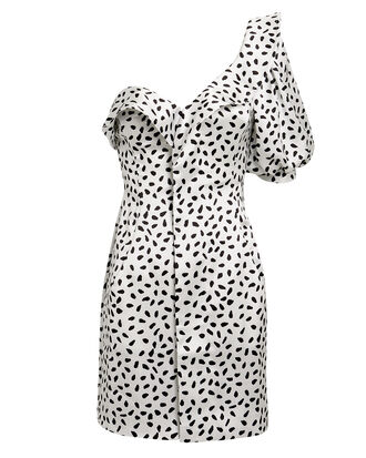Monochrome Printed Mini Dress, BLK/WHT, hi-res
