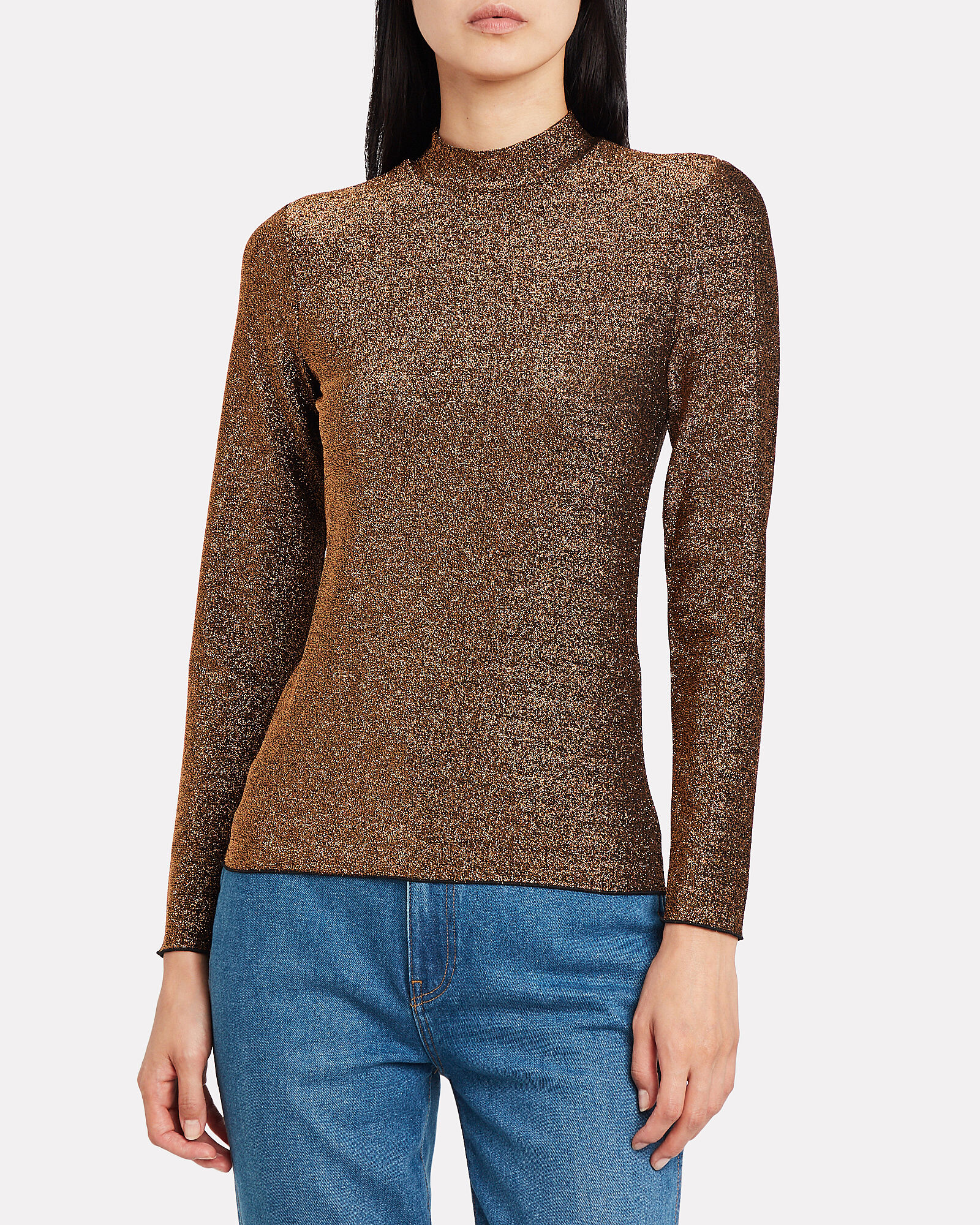 Jennie Lurex Turtleneck, BRONZE, hi-res