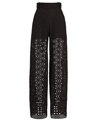 Brigid Cotton Eyelet Trousers, BLACK, hi-res