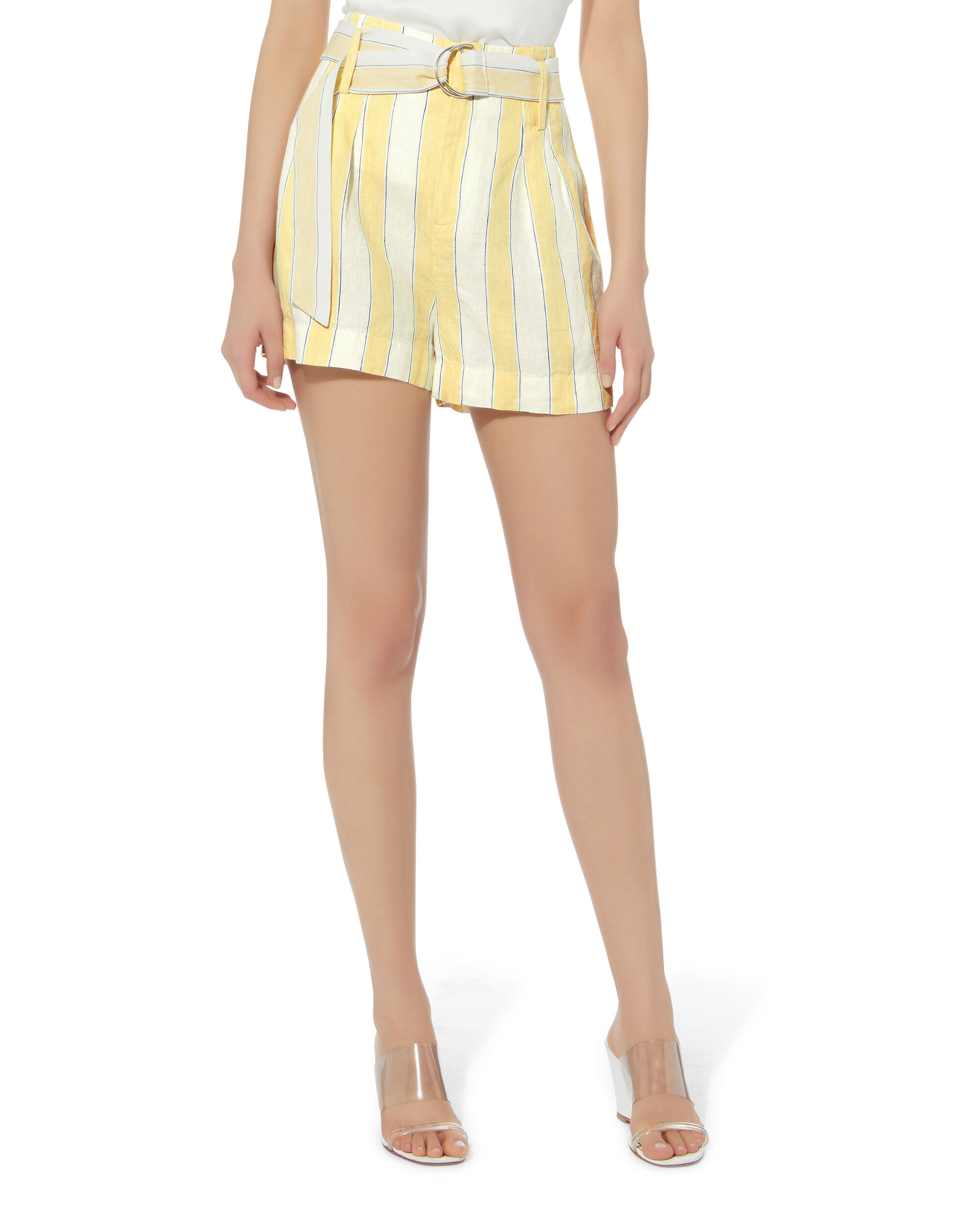 Linen Striped Shorts, IVORY/YELLOW, hi-res