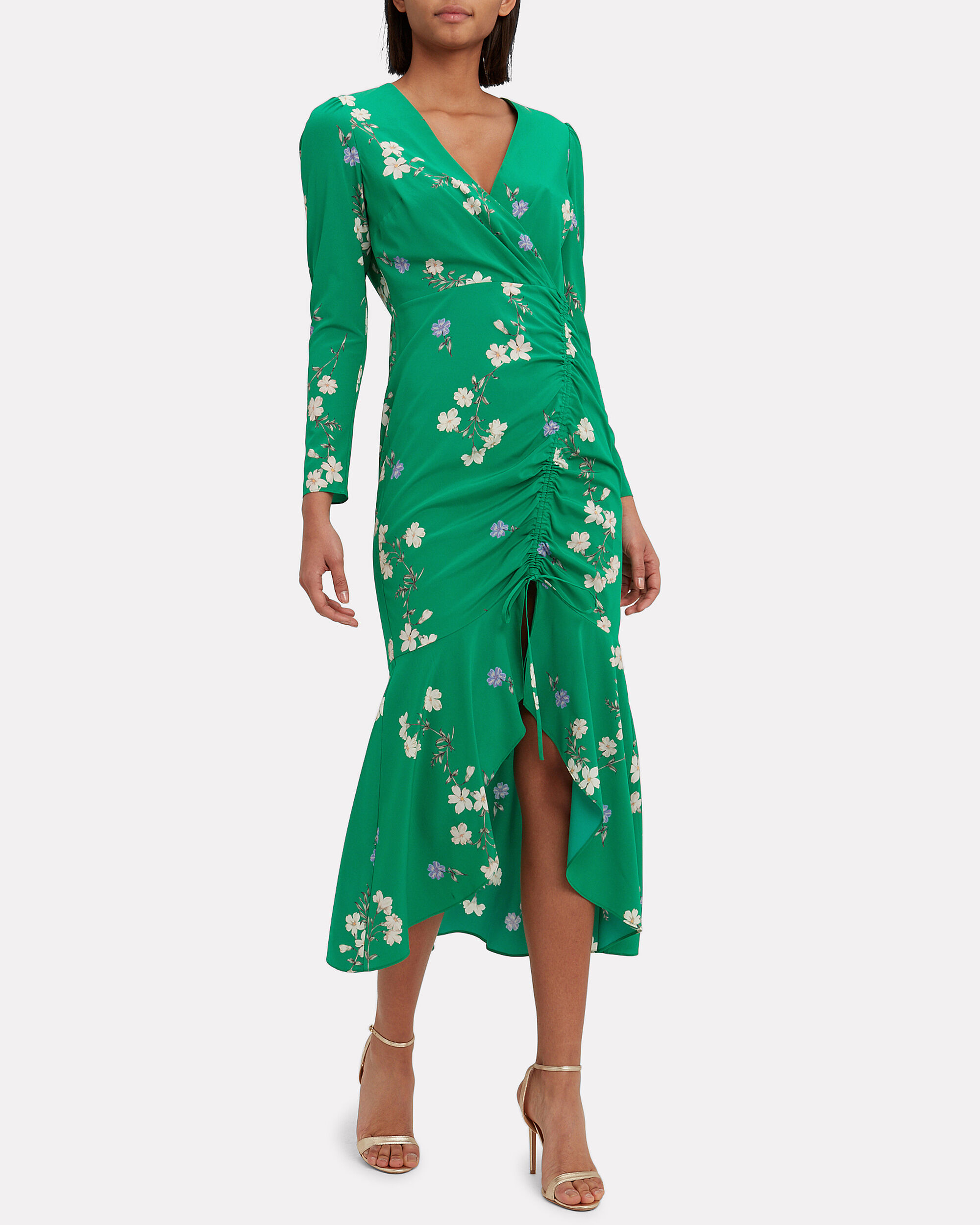 Aria Floral Printed Dress, GREEN, hi-res
