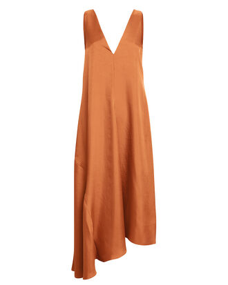 V-Neck Draped Dress, RUST, hi-res