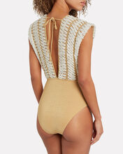 Vyak Crochet One-Piece Swimsuit, GOLD, hi-res