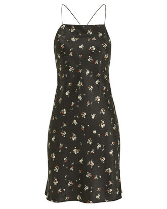 90s Short Slip Dress, BLACK/FLORAL, hi-res