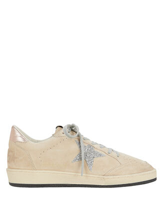 Ball Star Beige Suede Low-Top Sneakers, BEIGE, hi-res