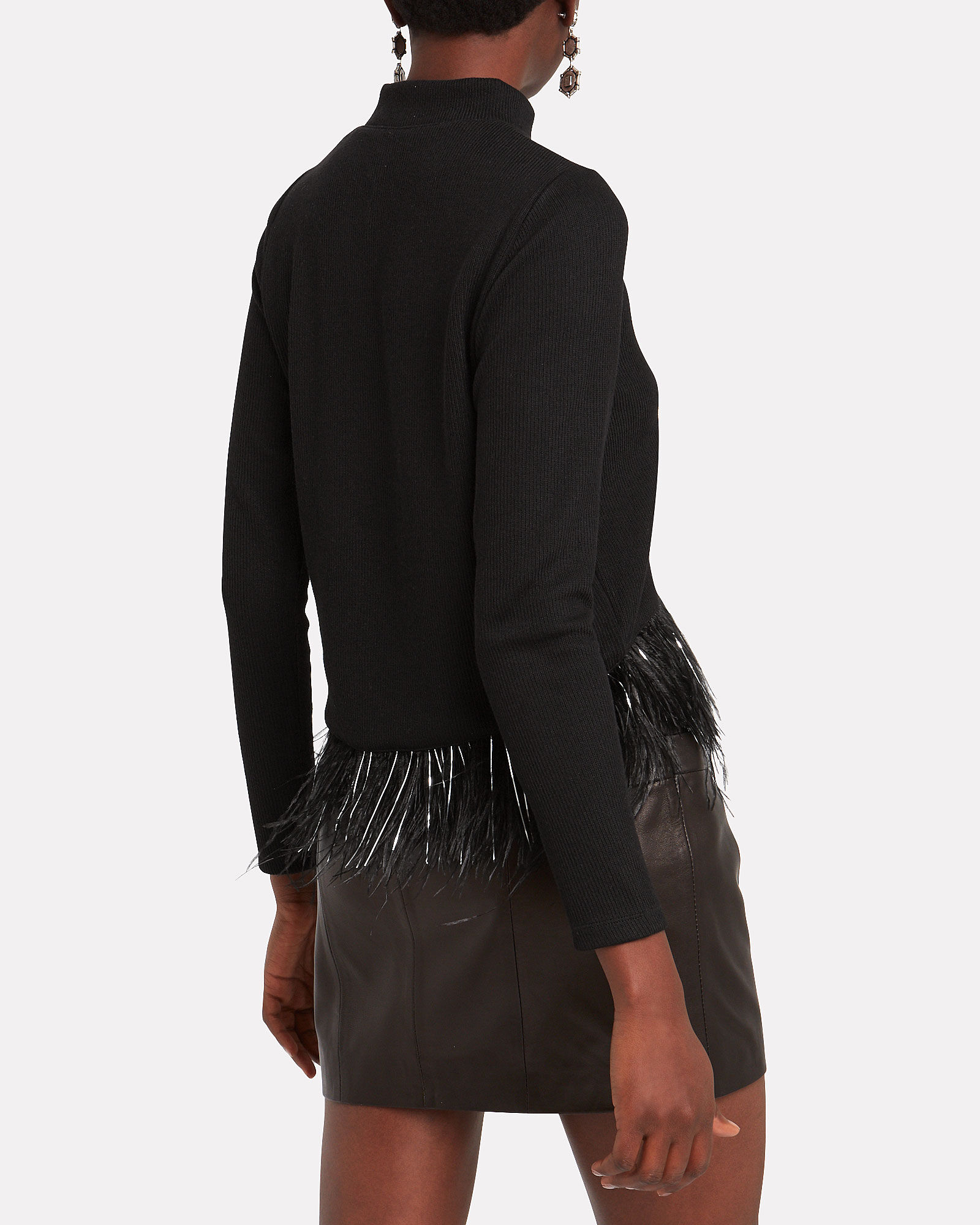 Milana Feather-Trimmed Sweater, BLACK, hi-res