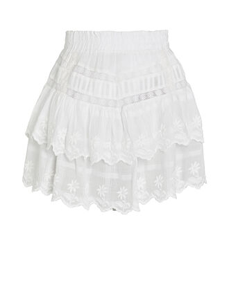 Emilia Cotton Eyelet Mini Skirt, WHITE, hi-res