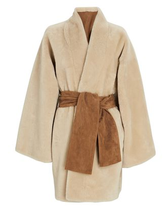 Reversible Shearling Wrap Coat, IVORY, hi-res