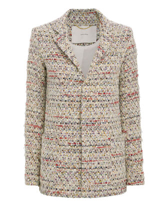 Cotton Tweed Jacket, IVORY, hi-res