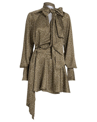 Doheny Tie Neck Polka Dot Dress, BROWN/POLKA DOTS, hi-res