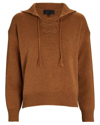 Gloria Lace-Up Wool Sweater, BROWN, hi-res