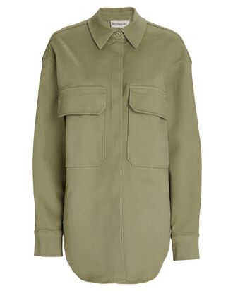 Calista Oversized Twill Shirt Jacket, GREEN, hi-res