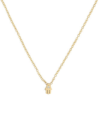Itty Bitty Hamsa Necklace, GOLD, hi-res