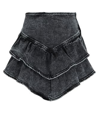 Ruffled Denim Mini Skirt, BLACK, hi-res