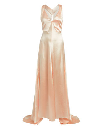 Hammered Satin Gown, BLUSH, hi-res
