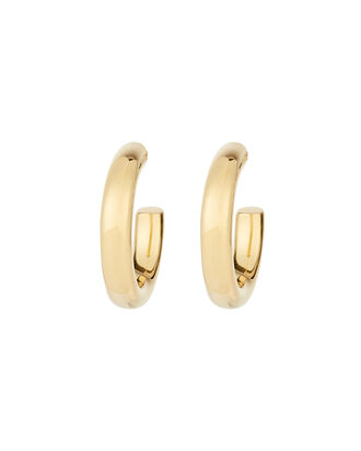 Small Tube Hoop Earrings, GOLD, hi-res