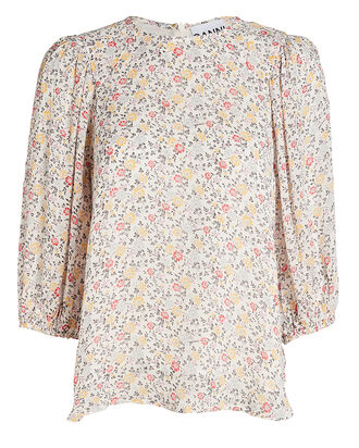 Printed Georgette Blouse, IVORY/YELLOW, hi-res