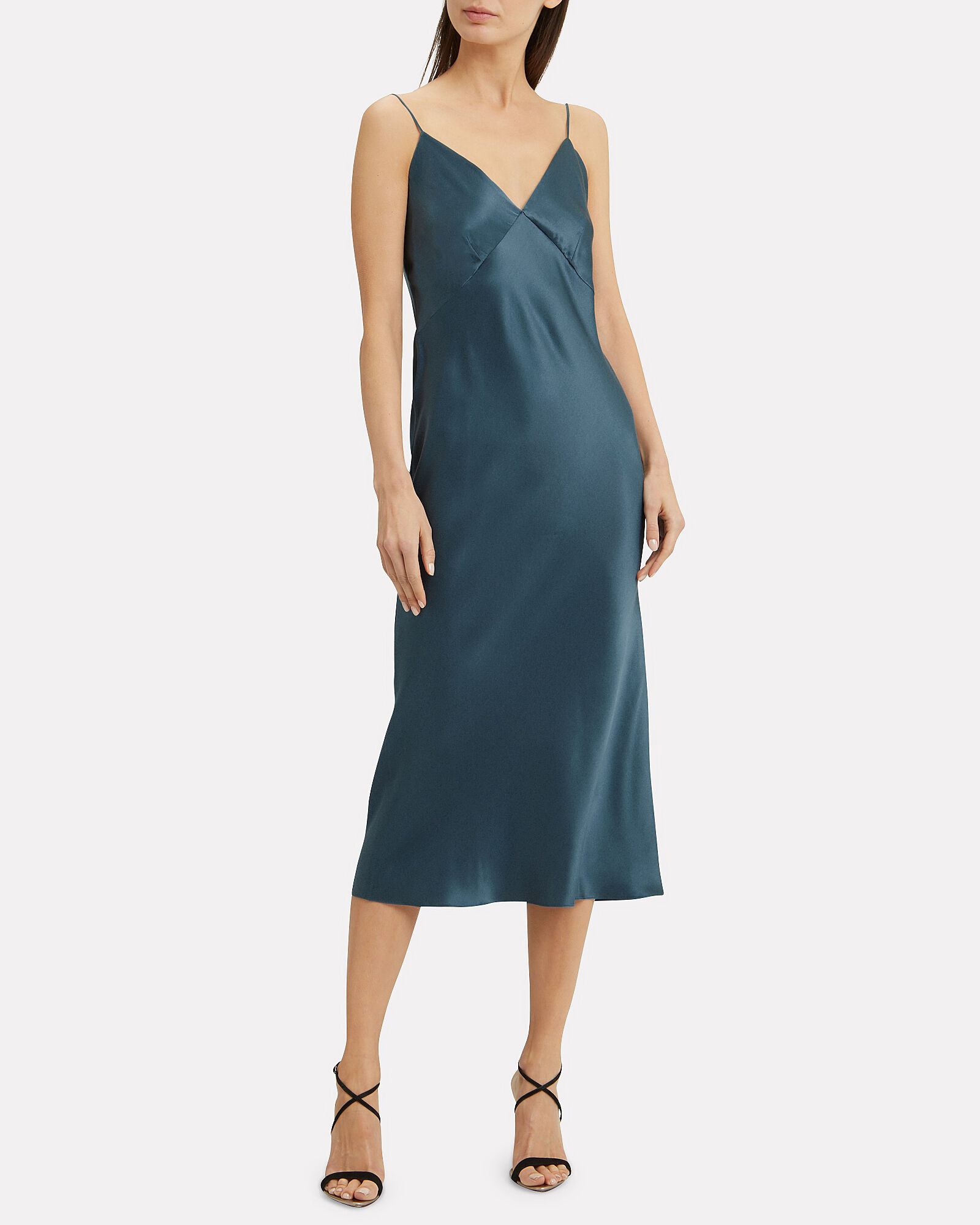 Issa Silk Slip Dress, BLUE, hi-res