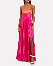 Elodie Colorblock Satin Gown, CORAL/FUCHSIA, hi-res