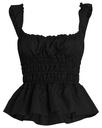 Ruched Cotton Poplin Tank Top, BLACK, hi-res