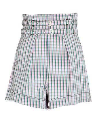 Double Belted Plaid Shorts, LIGHT PURPLE/GREEN, hi-res