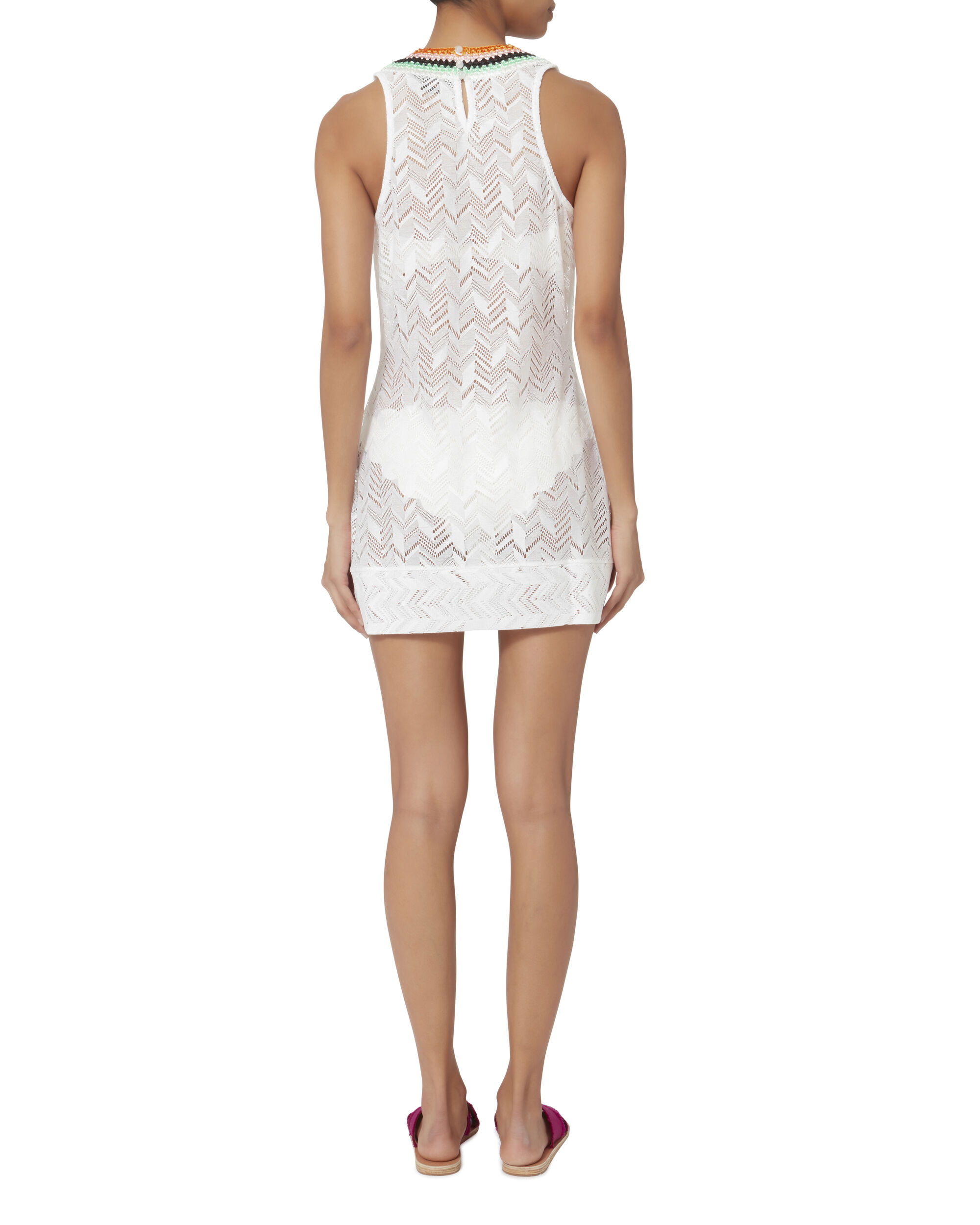 Zig Zag Crochet Trim Mini Dress, WHITE, hi-res