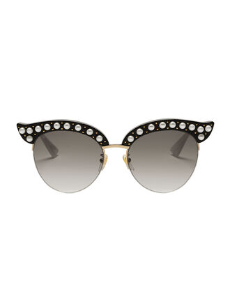 Faux Pearl-Embellished Cat Eye Sunglasses, METALLIC, hi-res