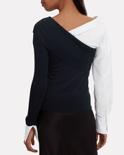 Removable Poplin Sleeve Knit Top, NAVY, hi-res