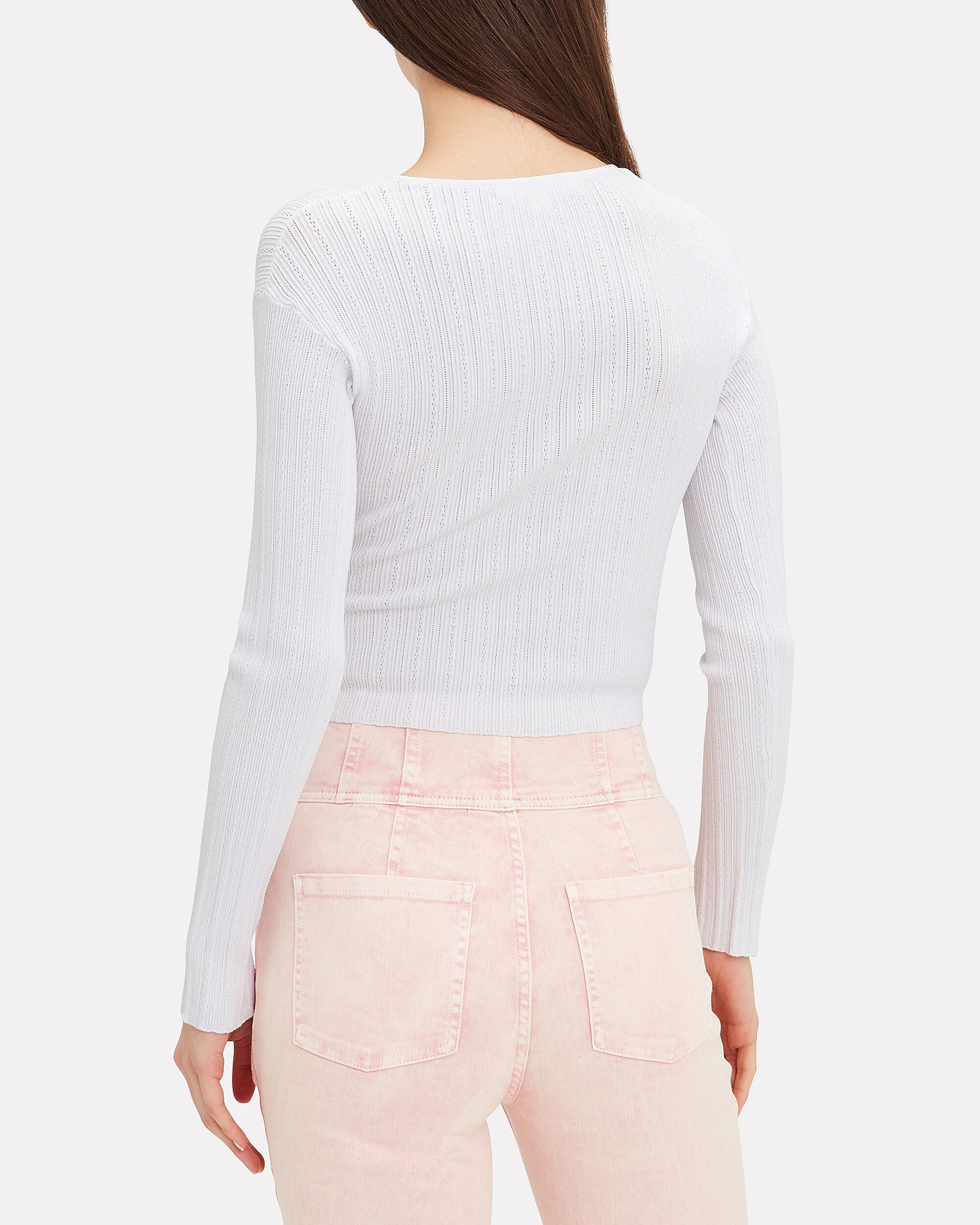 Linked Rib Cross-Front Top, WHITE, hi-res
