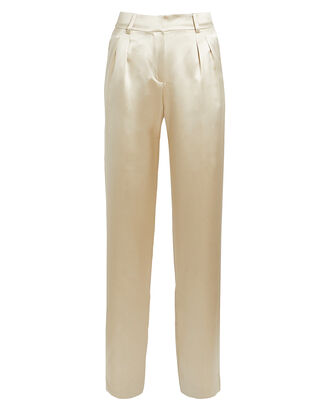 Lauren Silk Straight Leg Trousers, GOLD, hi-res