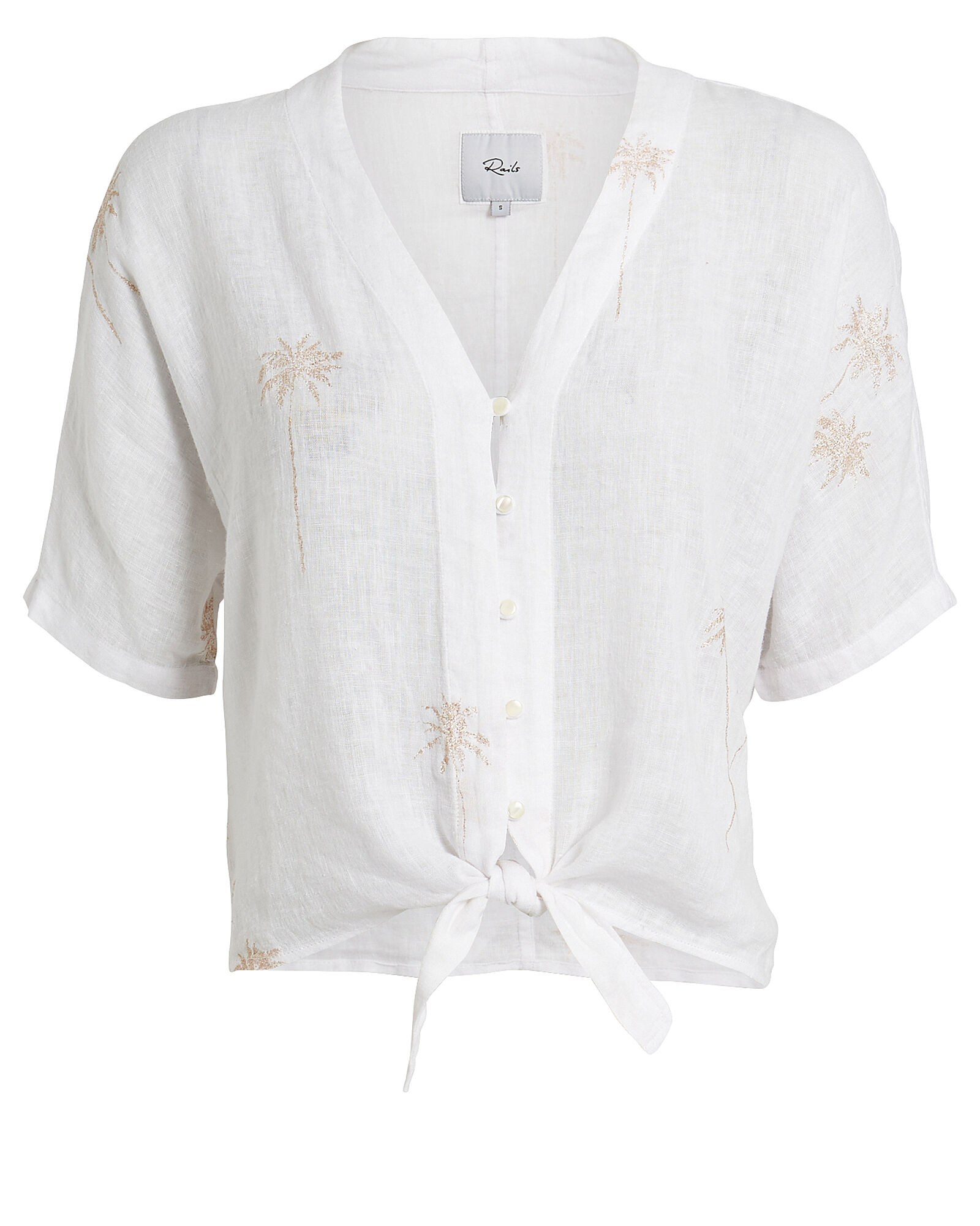 Thea Palm Tree Tie Front Top, WHITE, hi-res