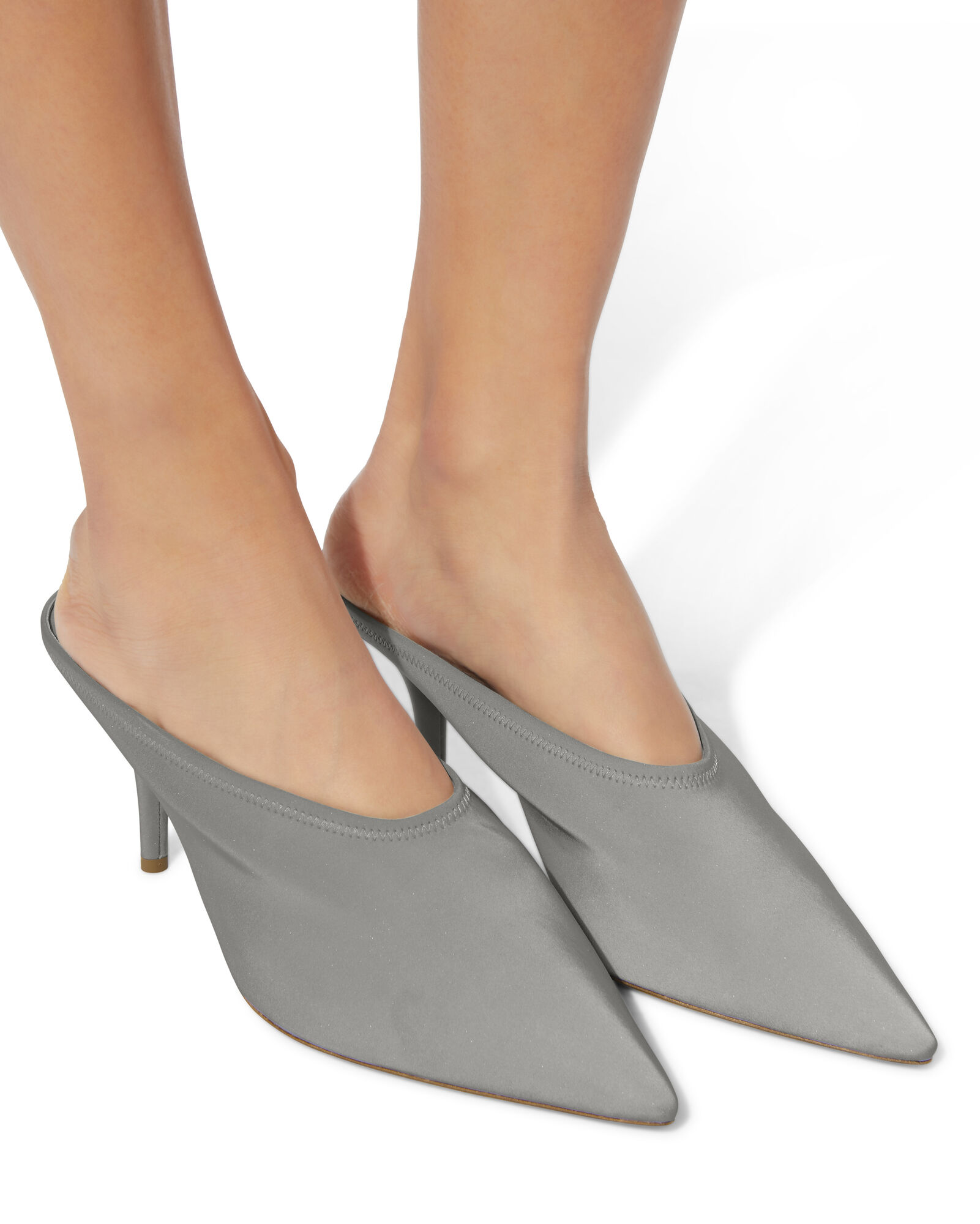Reflective Chrome Mules, GREY, hi-res
