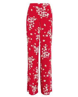 Fawne Silk Floral Pants, RED, hi-res