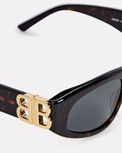 Dynasty Logo Rectangle Sunglasses, BROWN, hi-res