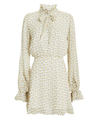 Jackie Floral Mini Dress, WHITE/YELLOW FLORAL, hi-res