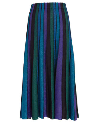 Yuma Metallic Pleated Midi Skirt, BLUE/STRIPE, hi-res
