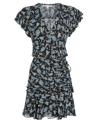 Marla Ruched Silk Floral Dress, MULTI, hi-res