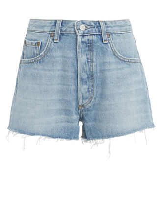 Cody Frayed Denim Shorts, MEDIUM BLUE WASH, hi-res