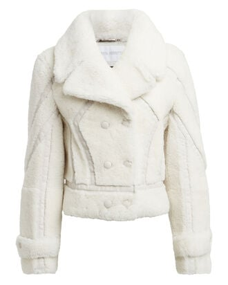 Leather-Trimmed Shearling Peacoat, IVORY, hi-res