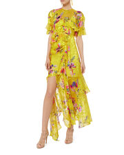 Nickesha Floral Asymmetric Dress, YELLOW, hi-res