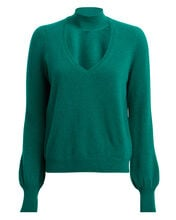Antonia Cut-Out Cashmere Sweater, JADE, hi-res