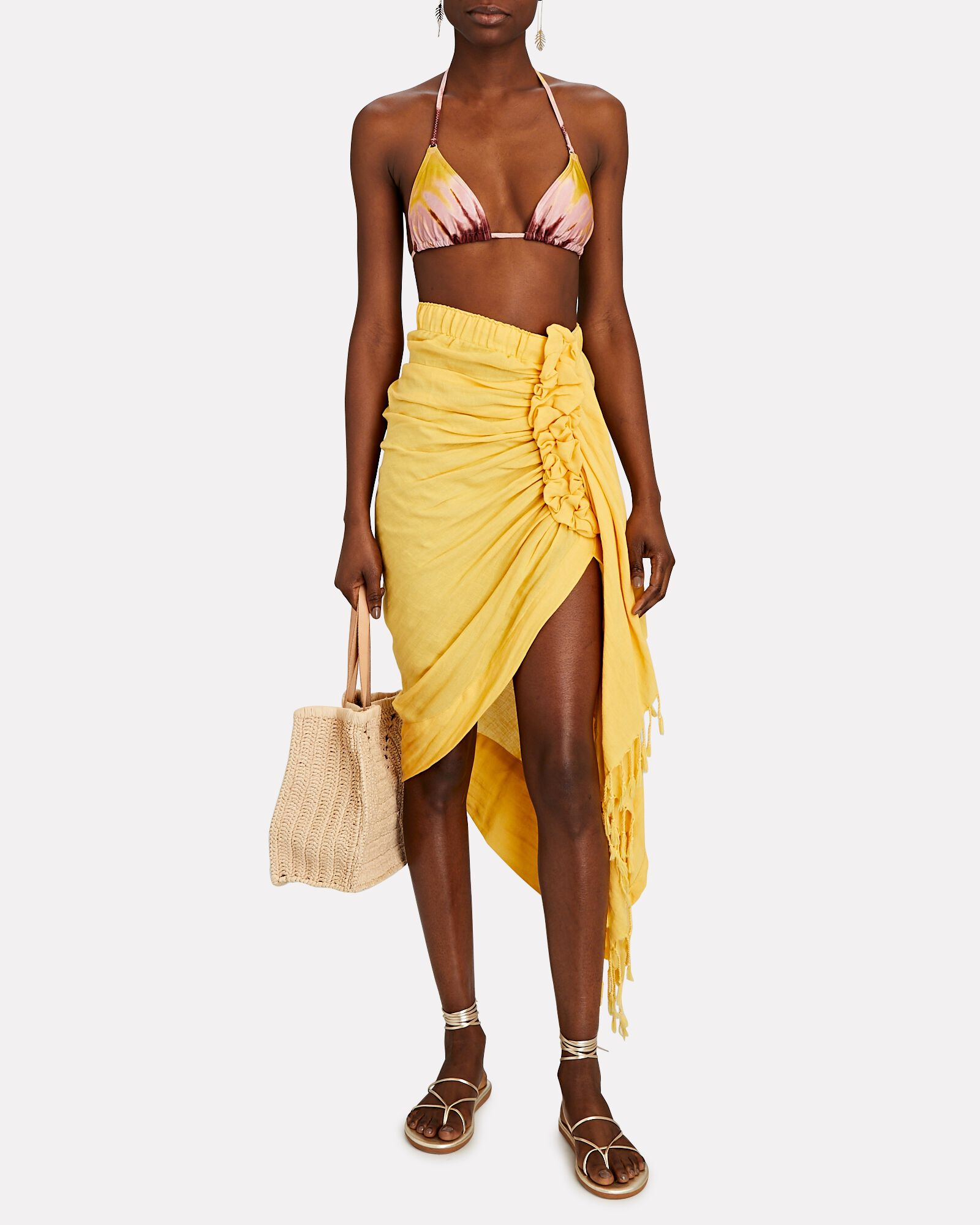 Tulum Ruched High-Low Skirt, MUSTARD, hi-res