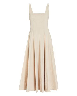 Wells Poplin Midi Dress, BEIGE, hi-res