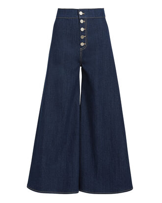Kelly Crop Flare Trousers, DENIM-DRK, hi-res