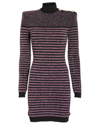 Glitter Striped Knit Turtleneck Dress, PURPLE/GLITTER STRIPE, hi-res
