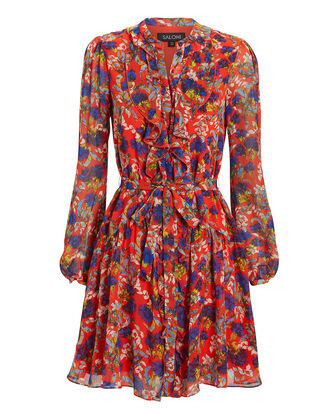 Tilly Ruffle Floral Mini Dress, RED/FLORAL, hi-res
