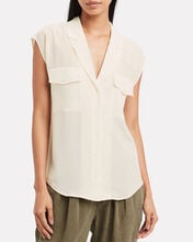 Silk Button Down Top, IVORY, hi-res